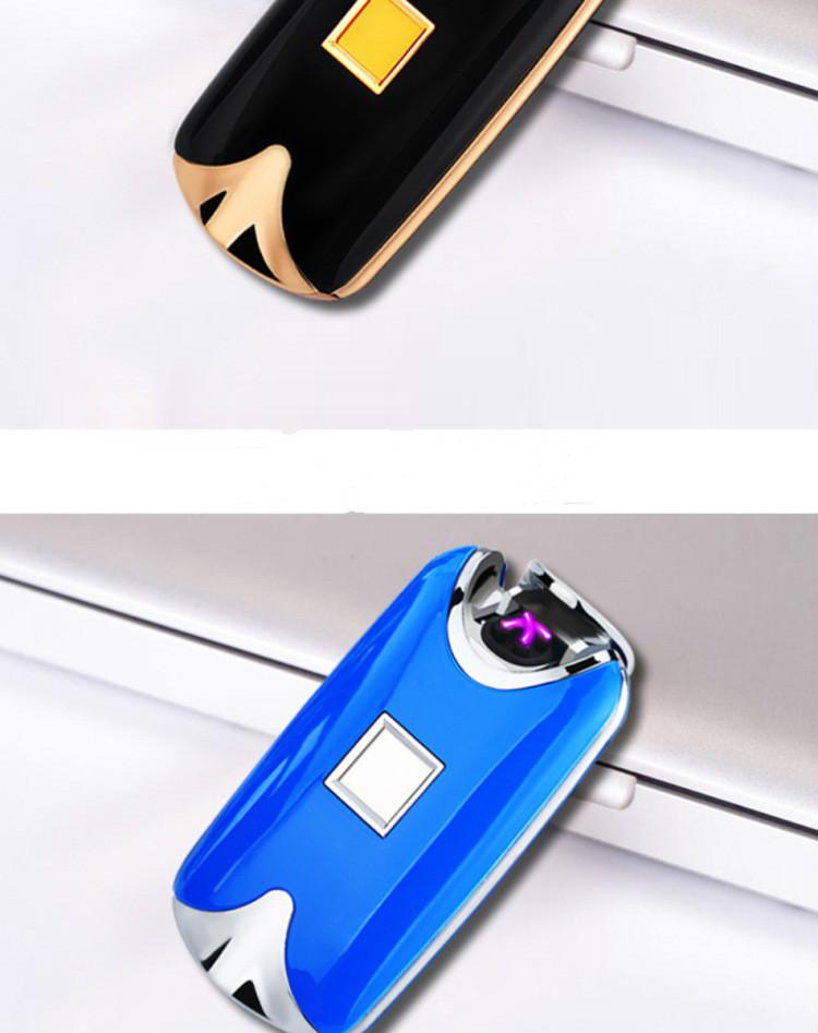 ถูก อัจฉริยะUSB DualไฟArcเบาลายนิ้วมือเหนี่ยวนำชาร์จโลหะลมเบาสำหรับสูบบุหรี่บุหรี่ของขวัญ