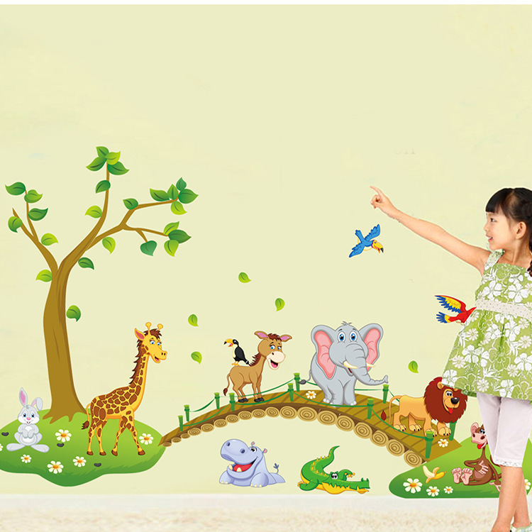 Cartoon Hippo Lion Monkey Animals Walking over the Bridge Wall Stickers Kids Bedroom Nursery Home Decor Mural Decal ABC1041(China (Mainland))