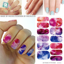K5721B Water Transfer Foil Nails Art Sticker Colored Bright Crystal Design Nail Sticker Manicure Decor Tools Nail Wraps Decals