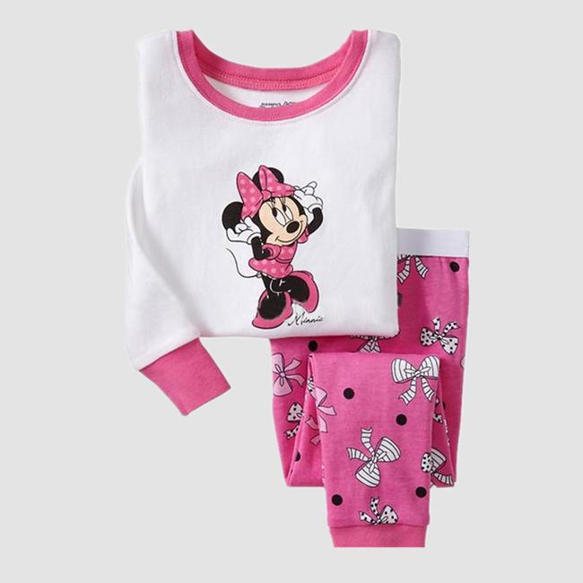 Kids Girls Pajamas Minnie Cartoon 100% Cotton Long Sleeve Pajamas for Girls(China (Mainland))
