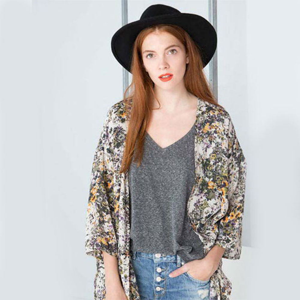 New Women Ladies Summer Floral Open Cape Tops Chiffon Casual Blouse Loose Kimono Coat Jacket Cardigans(China (Mainland))