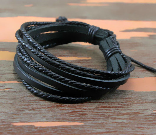 1Pc Monochrome Woven Leather Bracelet Pure Hand painted Leather Rope Bracelets Women And Men Bracelet With