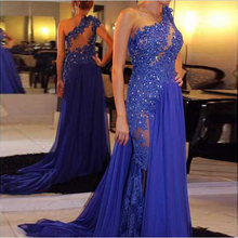 Sexy Royal Blue Lace Chiffon Long Evening Dress 2016 Shinning Sequins Beading Applique One Shoulder Formal Dresses Evening Wear(China (Mainland))