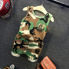 Children's Suit Clothing 2016 Summer New Boy Camouflage Suit Clothes Kid Boys Girls Shorts+vest Suits 2-7 years good quality