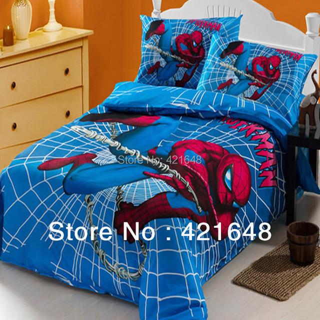 100% хлопок человек паук односпальная кровать мальчик мультфильм пододеяльник 3 шт. установить печатную дети комплект постельных принадлежностей
