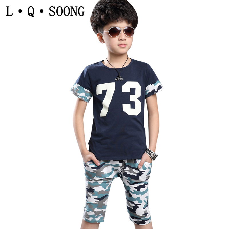 L Q SOONG brands cotton camouflage 2016 boys summer clothes kids sets short print boys clothing vetement enfant sports suit(China (Mainland))