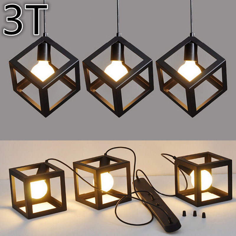 industrial vintage pendant lights metal cube cage lampshade