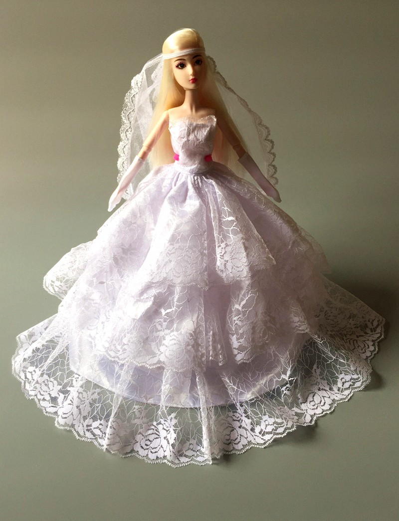 (Mix Delivery) 2014  Night Social gathering White Wedding ceremony Gown Robe Veil Glove Rose Lace Outfit Garments For Bride Kurhn Barbie Doll