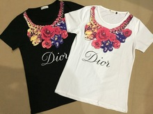 2015 Summer Short Sleeve Women T Shirt Rose Flower Necklace letters printed Shirts Clothes Femininas tops