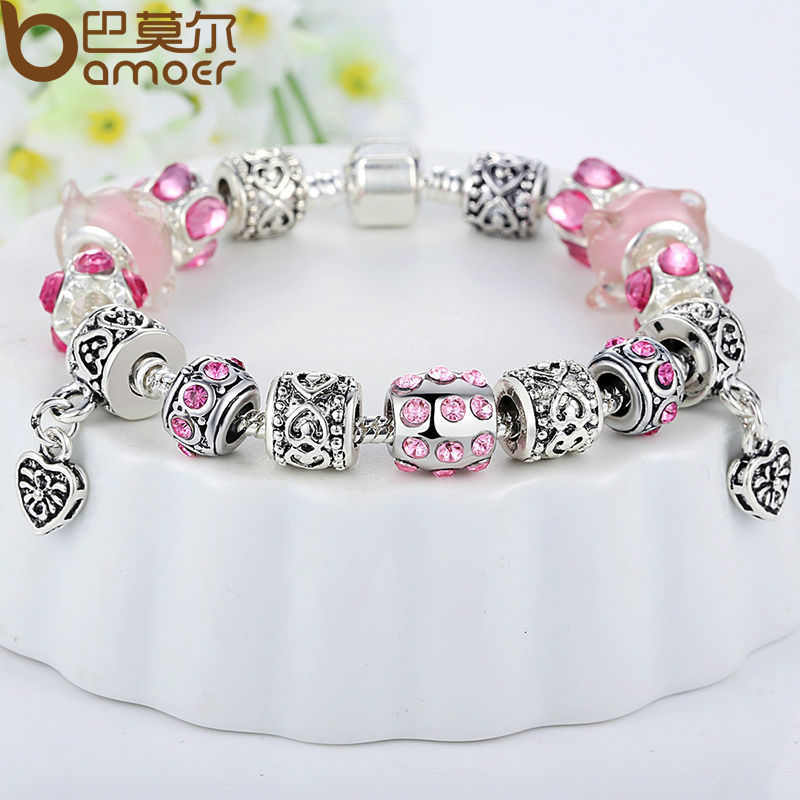 Russia HOT SELL 4 Colors Charm Fit Pandora Bracelet Silver 925 with Pink Crystal Glass Beads Original Jewelry(China (Mainland))