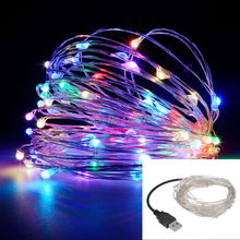 led string lights 10M 33ft 100led 5V USB powered outdoor Warm white/RGB copper wire christmas festival wedding party decoration(China (Mainland))