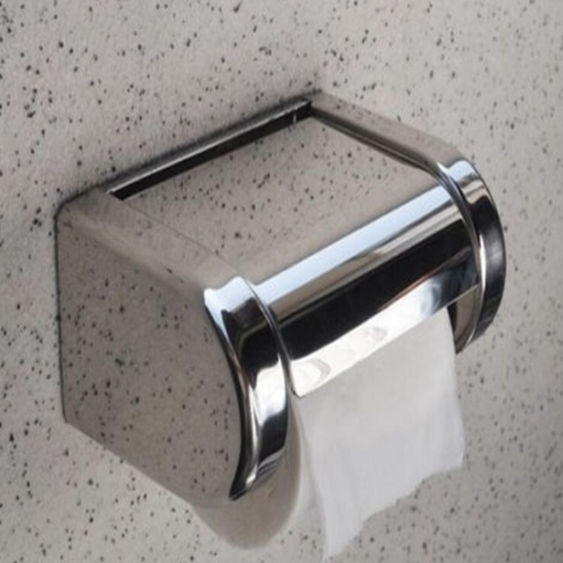 Wholesale And Retail Free Shipping Wall Mounted Bath Chrome Stainless Steel Toilet Paper Holder Roll Tissue Box(China (Mainland))