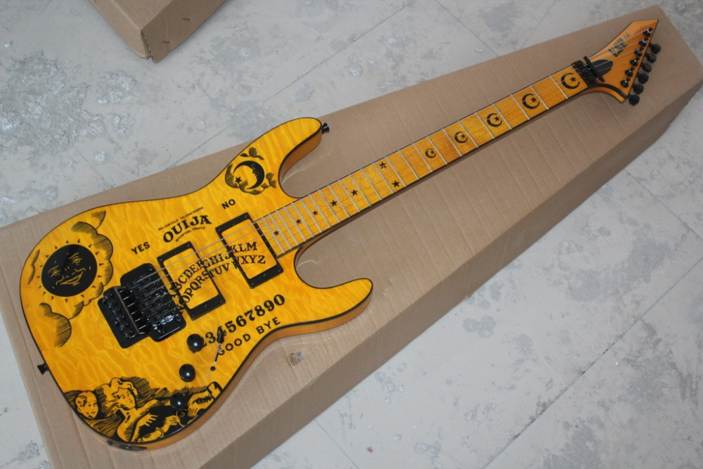 2016 new + factory + yellow ESP ouija KH electric guitar ESP kirk hammett oujia moon electric guitar free Shipping ESP guitar(China (Mainland))