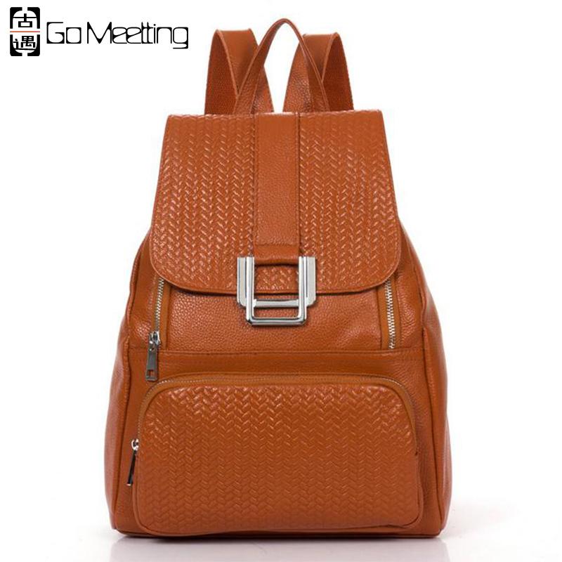 2016 Brand High Quality Genuine Leather Women's Backpacks Grid Embossed Cowhide Women School Shoulder Bag Travel Backpack WB19(China (Mainland))