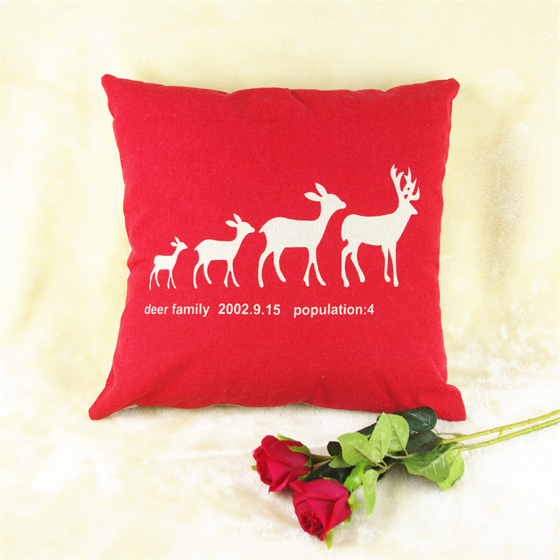 Christmas Elk Pattern Red Throw Pillow Cover Animal Cushion Covers Decorative Sofa Couch Covers Car Seat Cushion Pillow Case(China (Mainland))