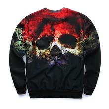 new arrive street fashion 3D Horror Skull printed hoodies boys teens Spring Autumn thin sweatshirts big
