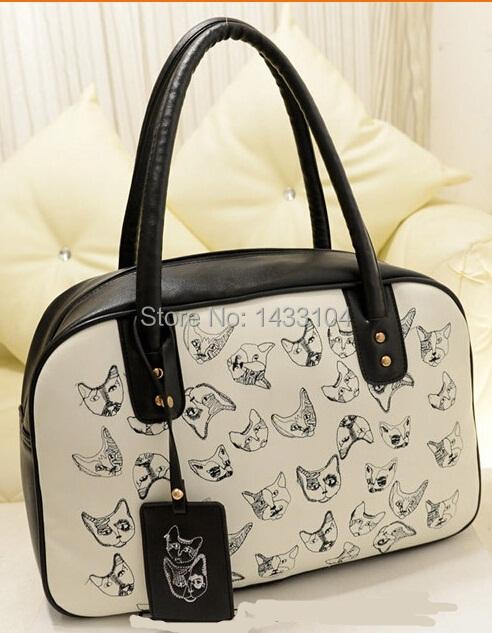 On Sale spring 2015 New Fashion Cute Dog Cartoon Messenger Bag women Soft leather Shoulder bags patchwork print Handbag(China (Mainland))