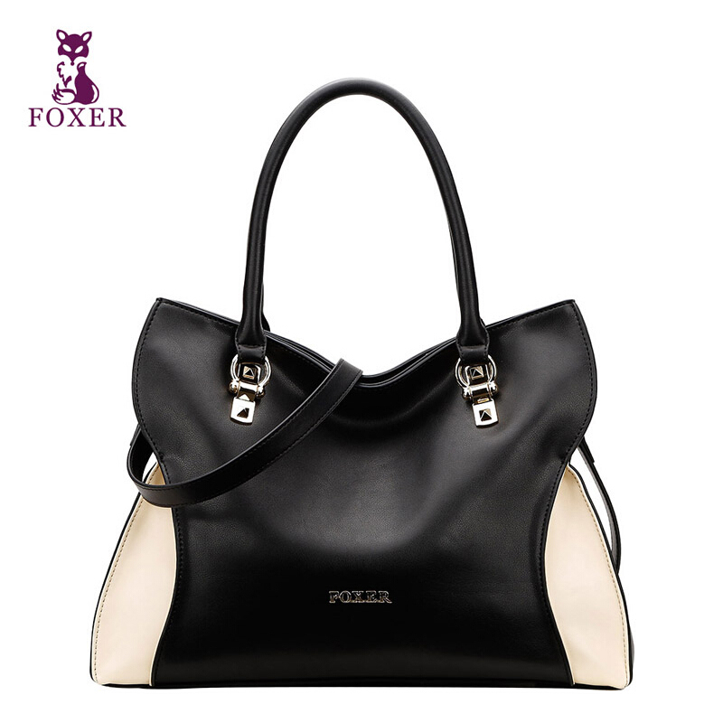 Top Quality Genuine Leather Bag FOXER Brand Simple Hit Color Totes Womens Bags Fashion Cowhide Shoulder Messenger Bahs<br><br>Aliexpress