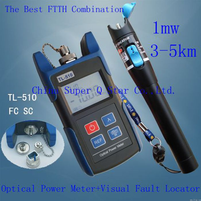 FTTH Kit TL510A -70~+10 Optical Power Meter with FC SC ST Connector +1mw Red Laser Fiber Optic Cable Tester (Range:3-5km)(China (Mainland))