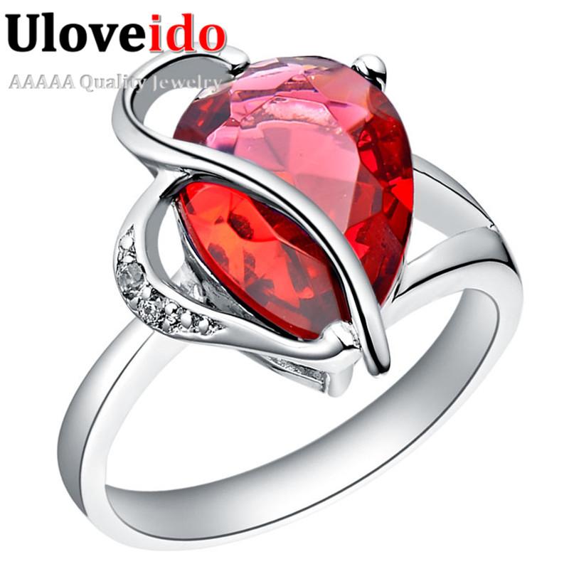 Uloveido Wedding Engagement Red Rings Purple Stones 2016 Vintage Silver Plated Jewelry Joyas De Plata Anel Feminino J094 - D&C Fashion Buy to Get a Free Gift store