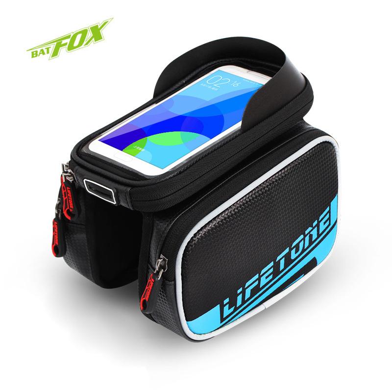 BATFOX 6.0 Inch Touch Screen Bicycle Front Tube Saddle Bags Waterproof Bike Bags PU Material MTB Mountain Bike Accessories(China (Mainland))