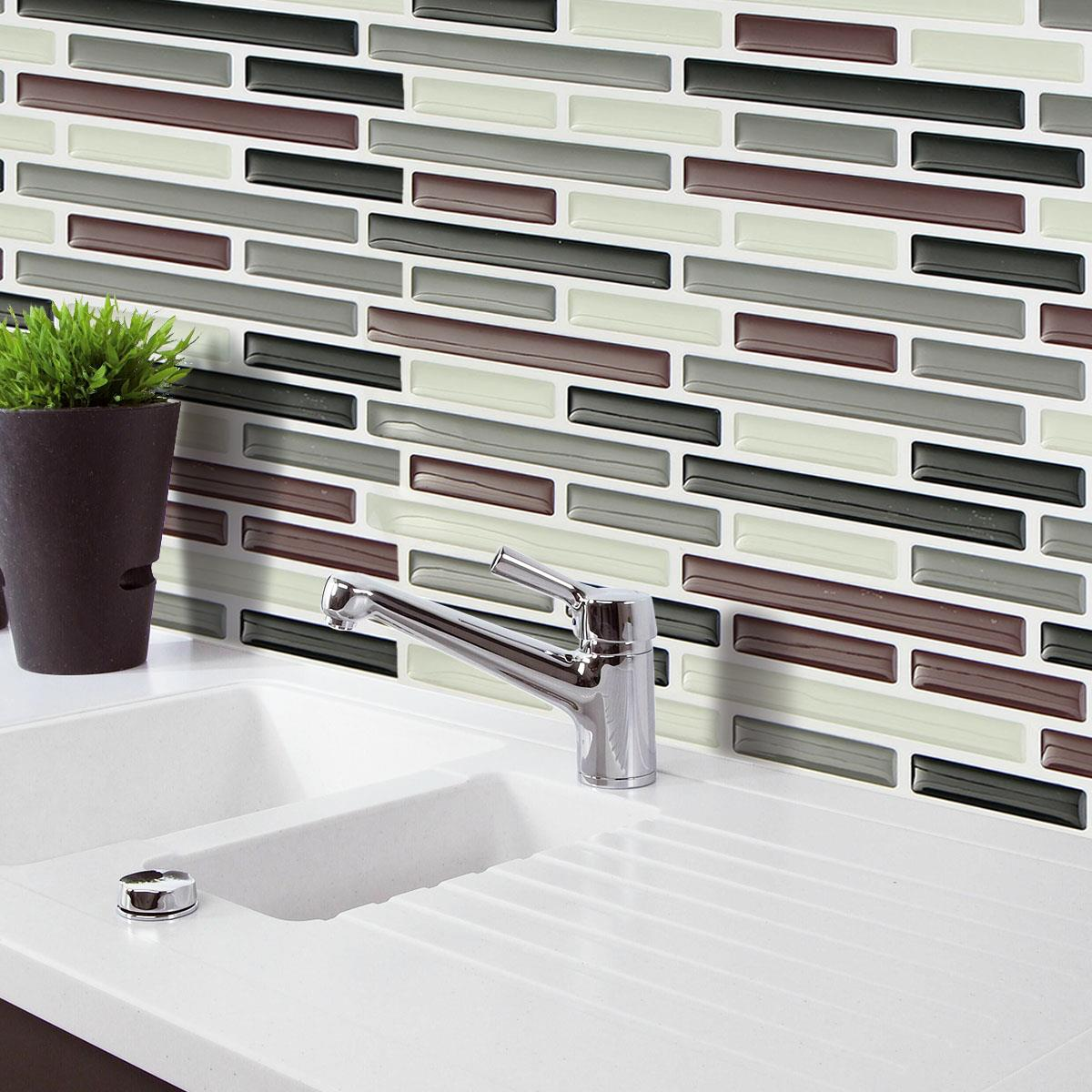 PVC Wall Sticker Bathroom Waterproof Self adhesive Wallpaper Kitchen Mosaic Tile Stickers For Wall Decal Home Decoration(China (Mainland))
