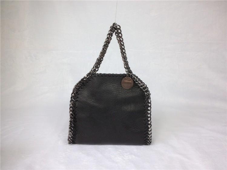 Фотография new life Fashion classical black luxury  chain bag  genuine leather 3 chain  handbag Iron chain shoulder bag