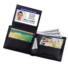 FancyStyle stylish genuine leather security protection rfid blocking wallet with ID window
