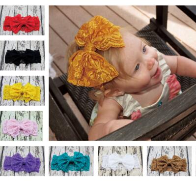 Cheap New Baby Girl Lace Bow Headwrap Wide Lace Headband for Girl Hair Fashon Infant Elastic Headband Newborn Headwear10pcs/lot(China (Mainland))
