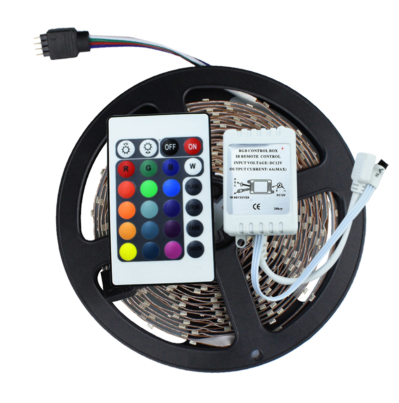 3528 SMD No-Waterproof RGB LED Strip Light DC 12V 5 meters 60led/m LED Flexible Light Strip with remote controller free shipping(China (Mainland))