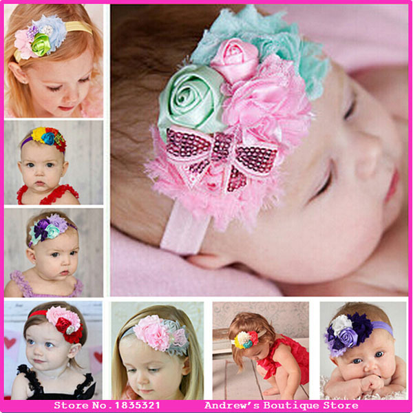 New And Hot Cute DIY Baby Girls Headband 8 Colors Toddler Hair Accessories Hair Wear Flower Elastic Hair Bands For Infant(China (Mainland))