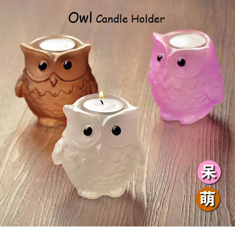 Creative European Owl Style Glass Candlestick Wedding,Table Candle Holder Candlelight Dinner Home Decoration 4 Colors New Arrive(China (Mainland))