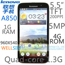Original Lenovo A850 Multi language Mobile phone 5.5″TFT 960×540 Quad core1.3G 1G RAM 4G ROM  Android 4.2 5MP