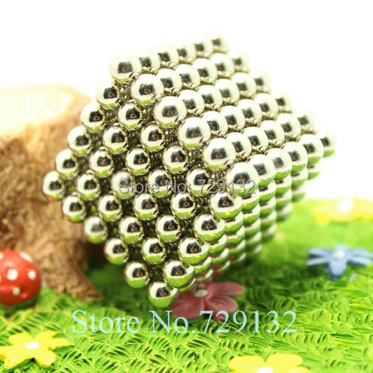 Free shipping 5mm Buckyballs Magnetic balls Neocube Magic cube Magnet Puzzle (Nickel color, Round tin box)(China (Mainland))