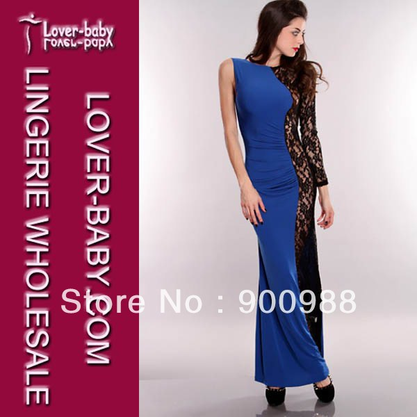 Black/Blue Multi Checker Print One Shoulder Lace Long Sleeve Dress For Women(China (Mainland))