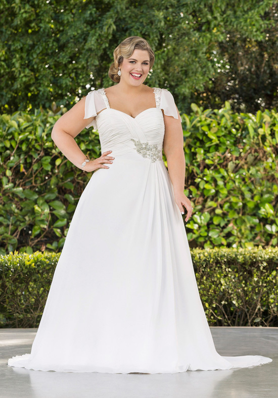 2015 hot sale chiffon plus size long wedding dresses for Plus size beaded wedding dresses