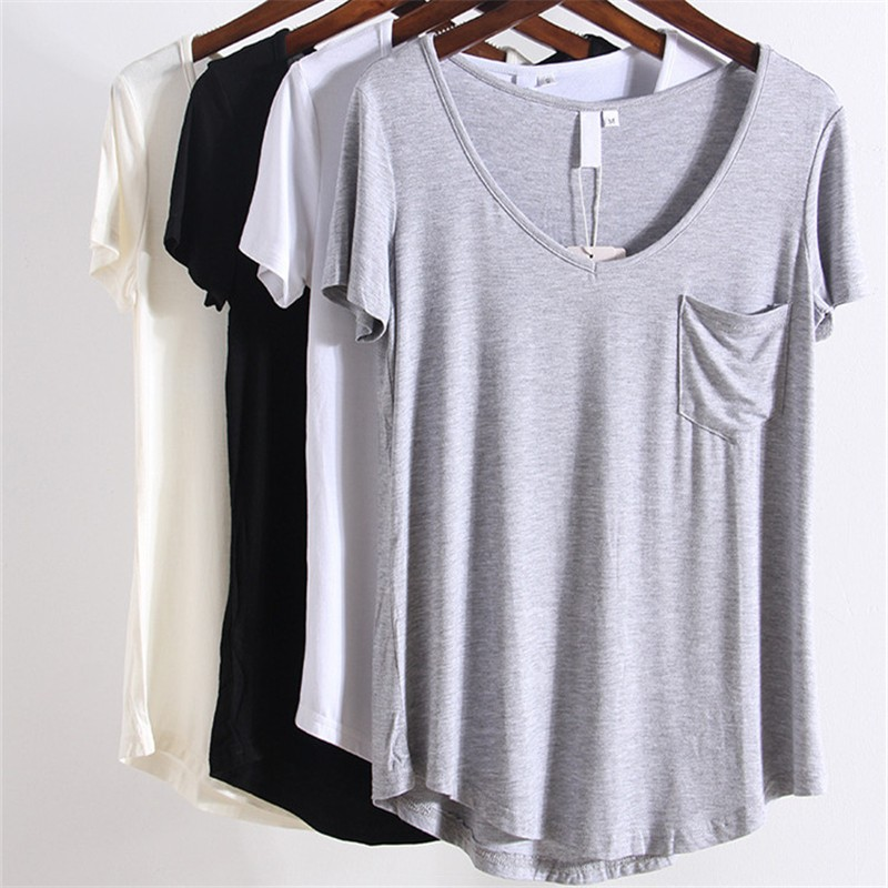 Summer Autumn New Casual Sexy Slim Loose Basic Solid Pocket V Neck Short Sleeve Women T Shirt Tee Tops Plus Size for Gift