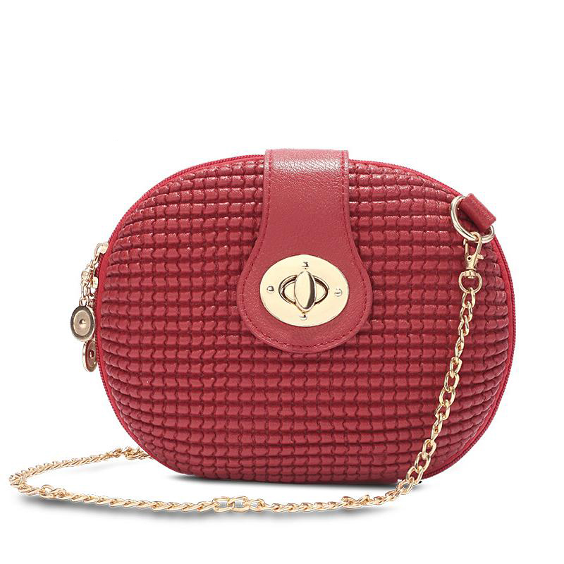brand solid Candy Color red black white Oval Embossed lady Small Mini circular minaudiere Women Messenger Crossbody Bags chains(China (Mainland))
