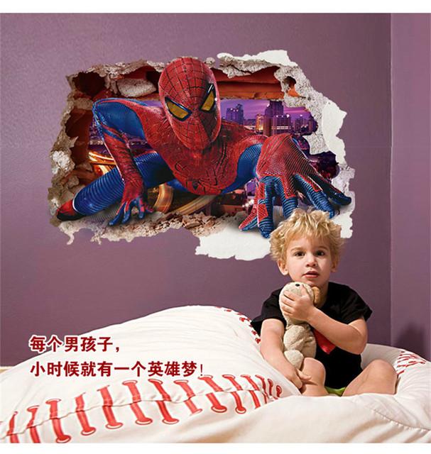 60 * 90 см 3d мальчики мечта паук через наклейка дети наклейки на стены дети стены спальни искусство декора