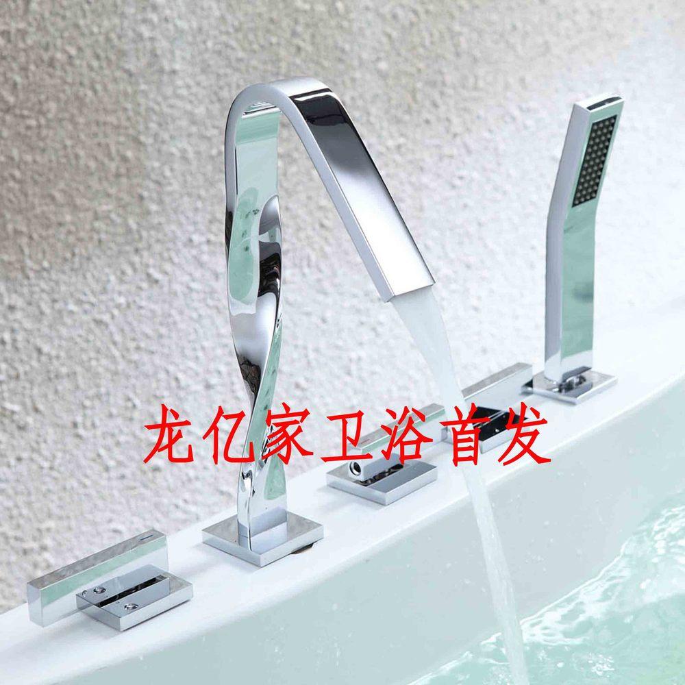 Full bath tub faucet copper bathtub faucet Five-piece cold C split double the faucet holes