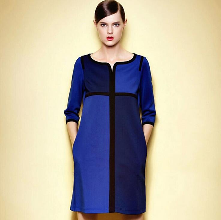 Autumn Office Dress Women Clothing Big Size Work Dress 5xl Plus Size Women Vestidos Elegant V Neck Blue Dress Free Shipping(China (Mainland))