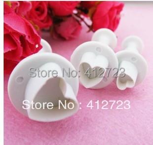 Bolo êmbolo cortador decoração Mold bolo coração de chocolate fondant cortador Sugarcraft decoração 3 pcs(China (Mainland))
