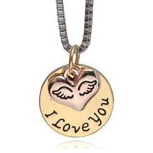"""Hot Sale """"I love you"""" Heart Angel Wing Pendant Necklaces Gold Silver Lovers Couples Jewelry Fine Gift for wife women Jewelry(China (Mainland))"""