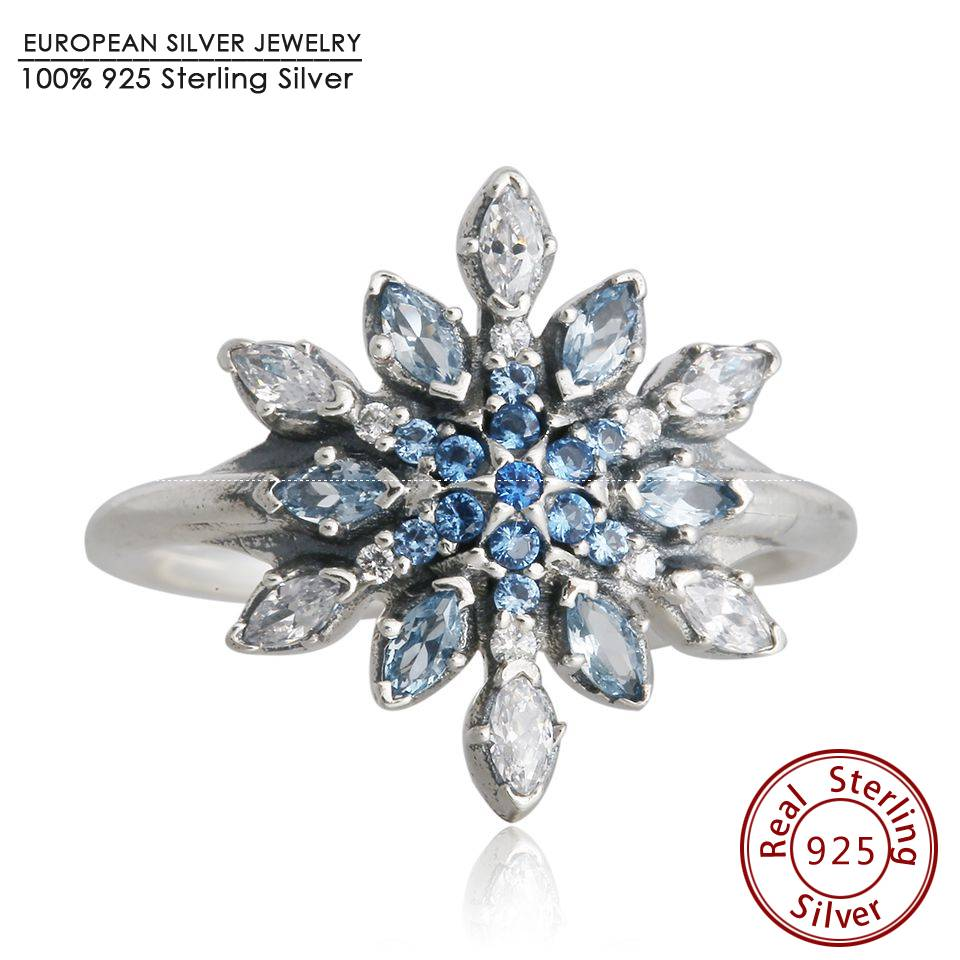 Blue Crystal Snowflake Rings 925-Sterling-Silver Anelli Donna Winter Ice Engagement Rings For Women Anel Brand Christmas Jewelry(China (Mainland))