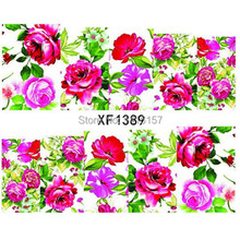 Min order is 10 mix order Water Transfer Nail Art Sticker Decal Beauty Colorful Rose Flower