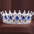 2016 New big European royal crown gold or silver plated rhinestone ruby tiara super large queen