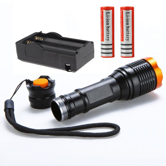 2000lumens zoomable flashlight CREE XM-LT6 led tactical lanterna use 18650 torch light + 2*18650 Battery + Battery Charger