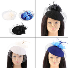 Elegant Ladies Fedoras Women Cocktail Party Mesh Billy Cock Hat Lace Flower Cap Cloche Cheap And New Hot Selling Accessories