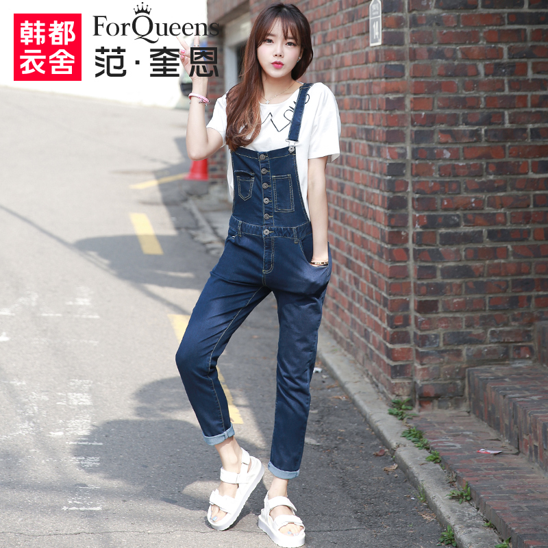 2016 summer arrival women's plus large loose denim bib overalls lady's chic pocket jumpsuits long pants jeans(China (Mainland))