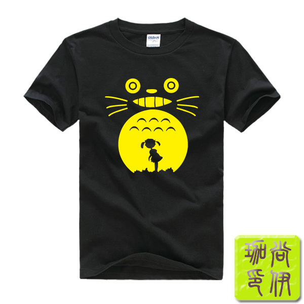 Hayao Miyazaki Totoro Printed Mens Men T Shirt Tshirt Fashion 2015 New Short Sleeve O Neck Cotton T-shirt Tee(China (Mainland))